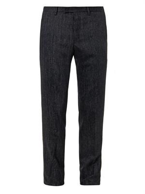 Micro-tweed wool trousers