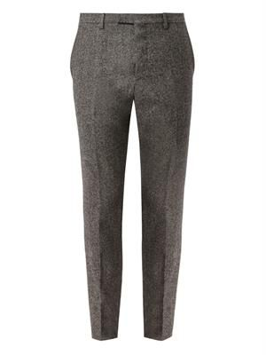 Slim-leg wool and cotton-blend trousers