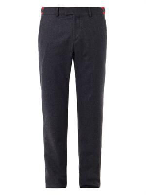 Flat-front wool-blend trousers