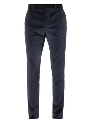 Stretch-velvet navy tailored trousers