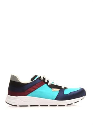 Satin colour-block trainers