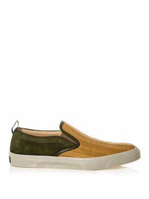 Suede and raffia slip-on trainers