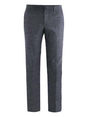 Slub denim-blue trousers