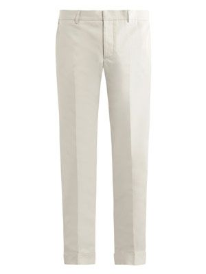 Slim cotton-linen trousers