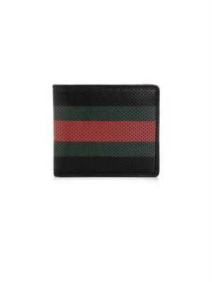 Perforated stripe leather wallet