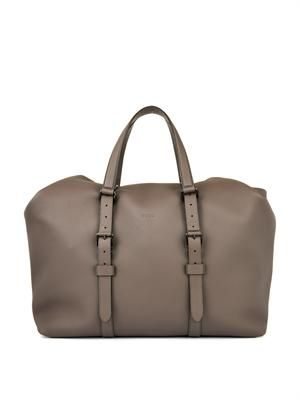 Grained-leather weekend bag