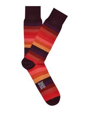 Tonal striped cotton-blend socks