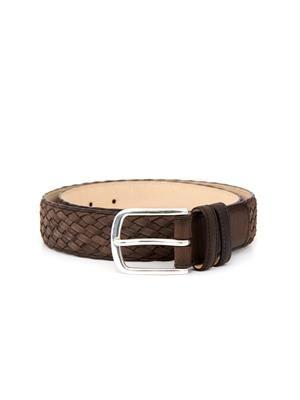 Nubuck-leather basketweave belt