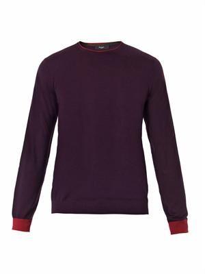 Crew-neck fine-knit sweater