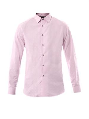 Striped and woven-spot cotton shirt