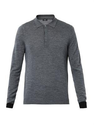 Fine wool-knit polo sweater