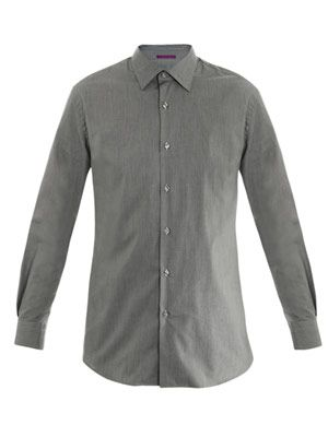 Micro-gingham cotton shirt