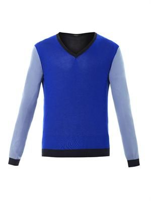 Colour-block silk knit sweater