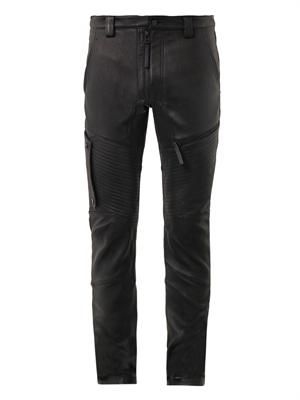 Trace leather moto trousers