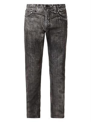 Coated slim-leg jeans