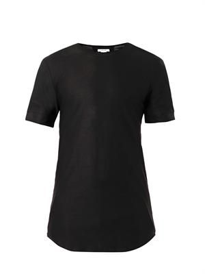 Slit-sleeve crew-neck T-shirt