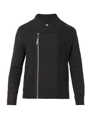 Shawl-neck chunky-knit cardigan