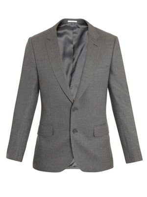Honeycomb weave two-button blazer