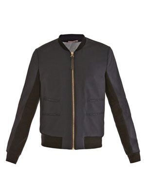 Ribbed-knit trimmed blouson jacket