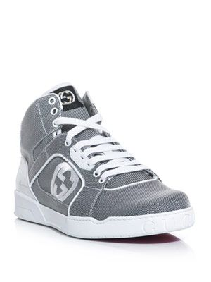Embroidered logo high-top trainers