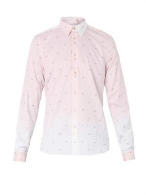 Ombré flamingo-print cotton shirt