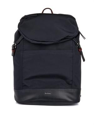 Grosgrain and leather backpack
