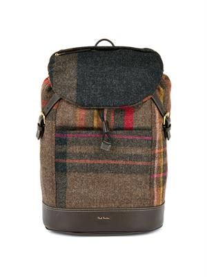 Maharam plaid wool and leather backpack