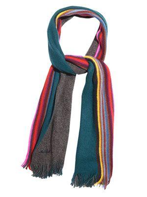 Striped-edge wool scarf