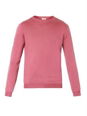 Contrast-panel fine-knit sweater