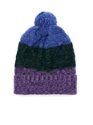 Colour-block wool beanie