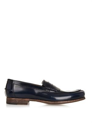 Webb navy leather loafers