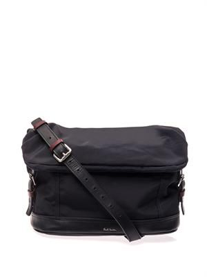Nylon and leather messenger bag