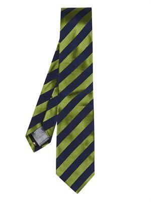 Diagonal stripe-jacquard silk-blend tie