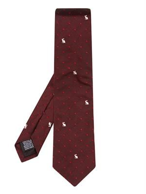 Rabbit and heart-jacquard silk tie