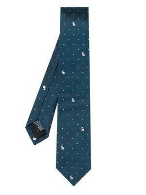 Rabbit and heart-jacquard silk tie