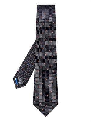 Multi dot-jacquard silk tie