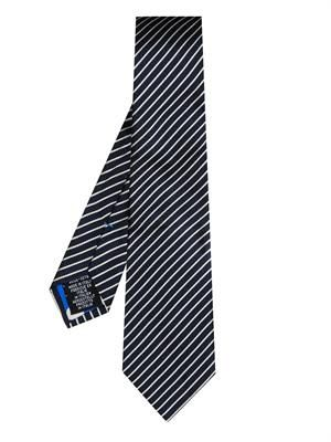 Diagonal-stripe-jacquard silk tie