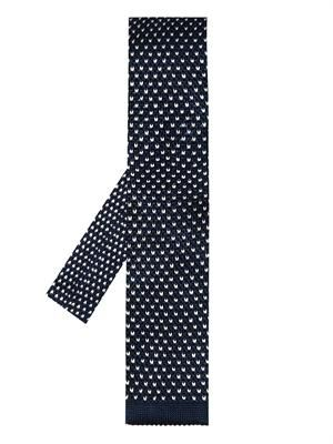 Micro-dot knitted silk tie