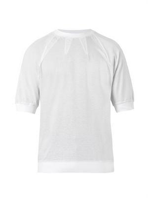 Dart-neckline crew-neck T-shirt