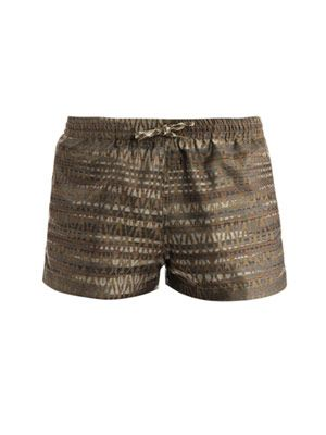 Ethnic jacquard swim shorts