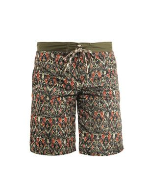 Feather-print surf swim shorts