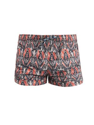 Feather-print short swim shorts
