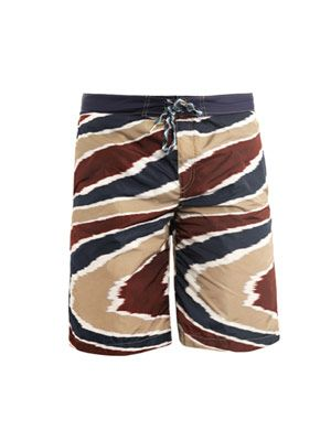 Swirl-print surf swim shorts