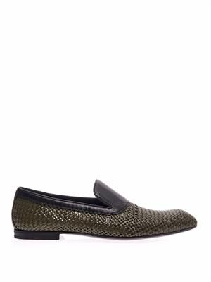 Intrecciato wicker and leather loafers