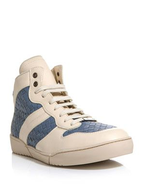 Intrecciato woven high-top trainers
