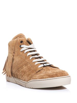 Tassel back high to woven trainers