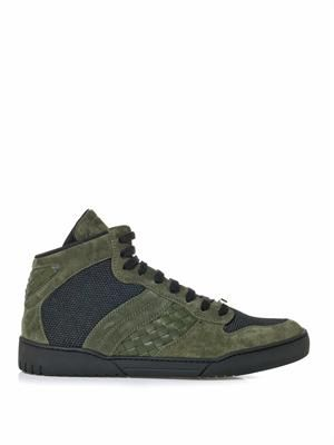 Intrecciato suede and leather trainers