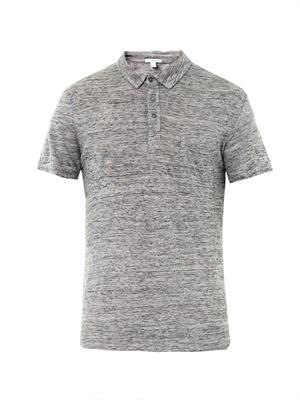 Slub jersey polo top