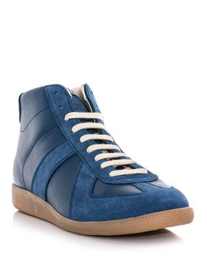 Leather and suede high-top trainers