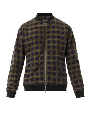 Checked cotton bomber jacket
